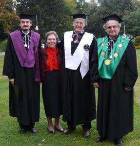 Dean Radu E. Sestras, Ms Shirley Janick, Professor Jules Janick and Rector Doru Pamfil after DHC ceremony 2