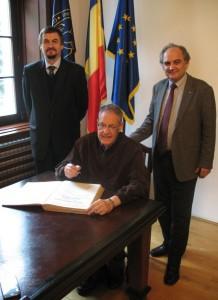 Dean Radu E. Sestras, Professor Jules Janick and Rector Doru Pamfil