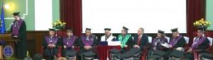 Dean Radu E. Sestras presenting Laudatio for Jules Janick DHC in festive ceremony