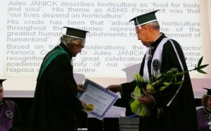 Rector Doru Pamfil giving DHC diploma to Professor Jules Janick